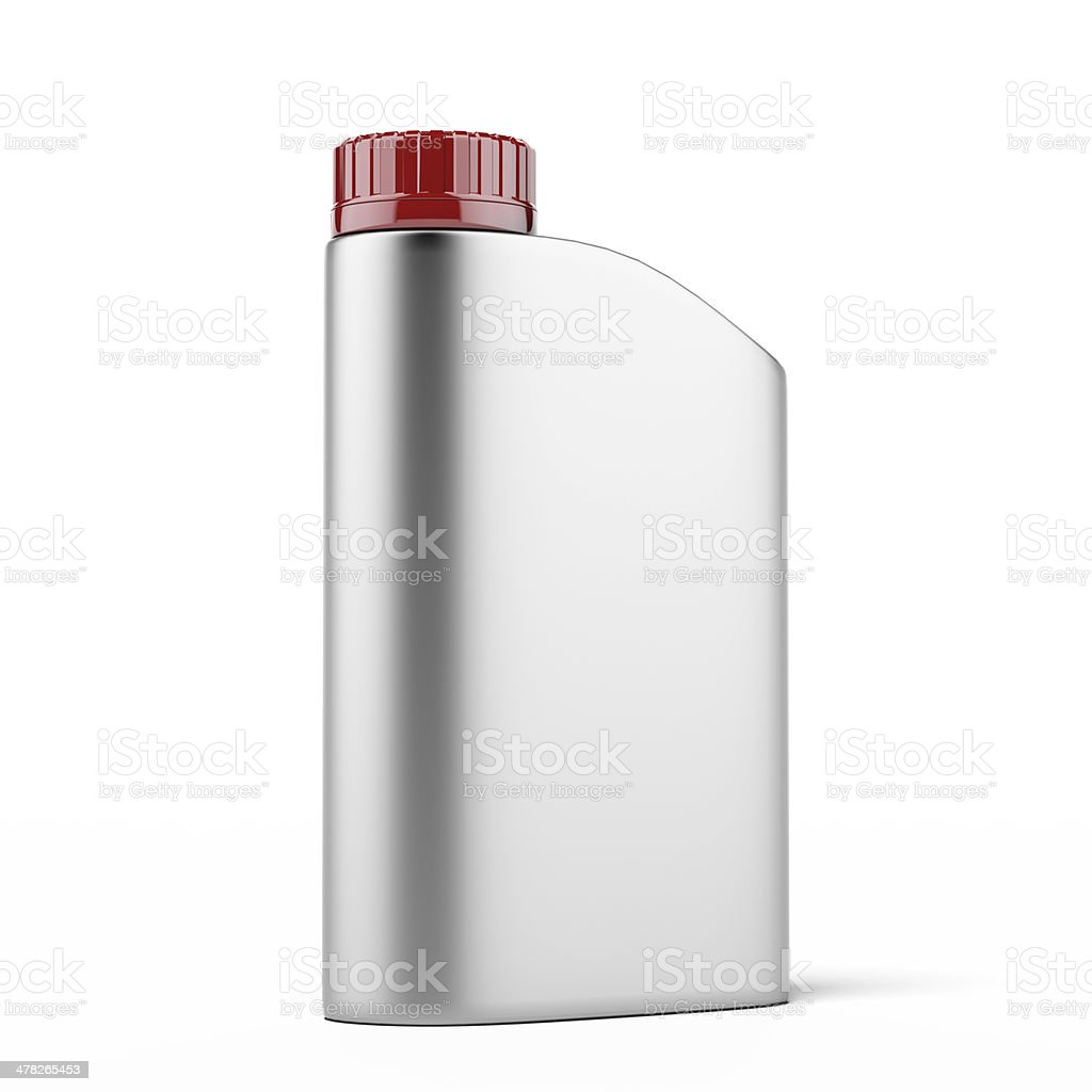 Silver canister with machine oil stock photo