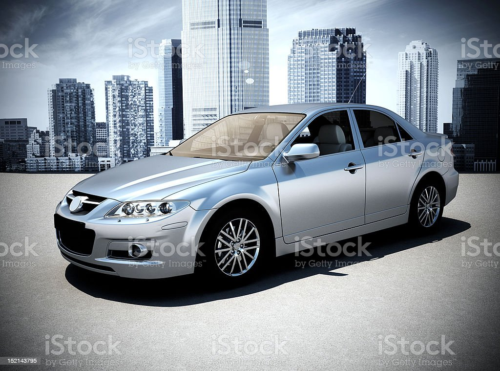 silver car 3d render stock photo