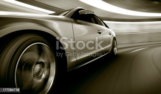 istock Silver car speeding in tunnel 177264718