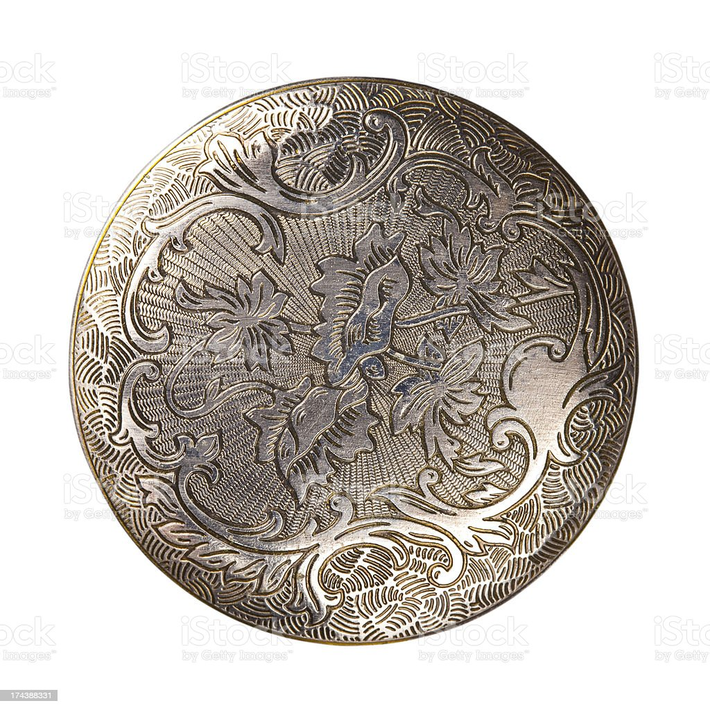 Silver carved disk stock photo