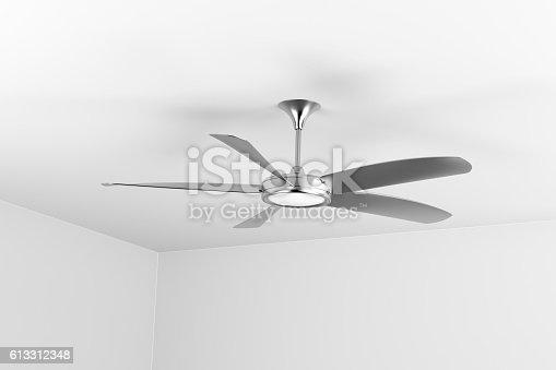 istock Silver ceiling fan 613312348