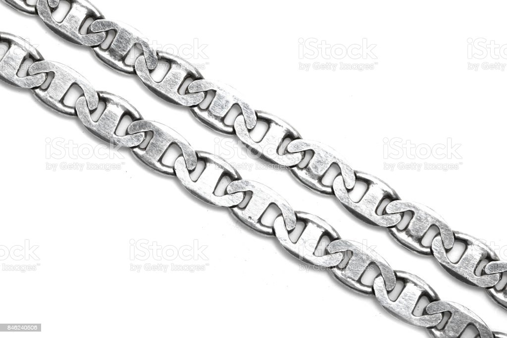 silver chain on a white background stock photo
