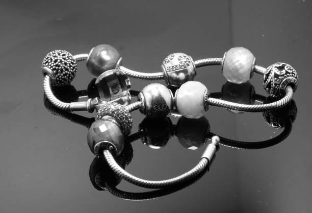 Silver Charm Bracelet stock photo