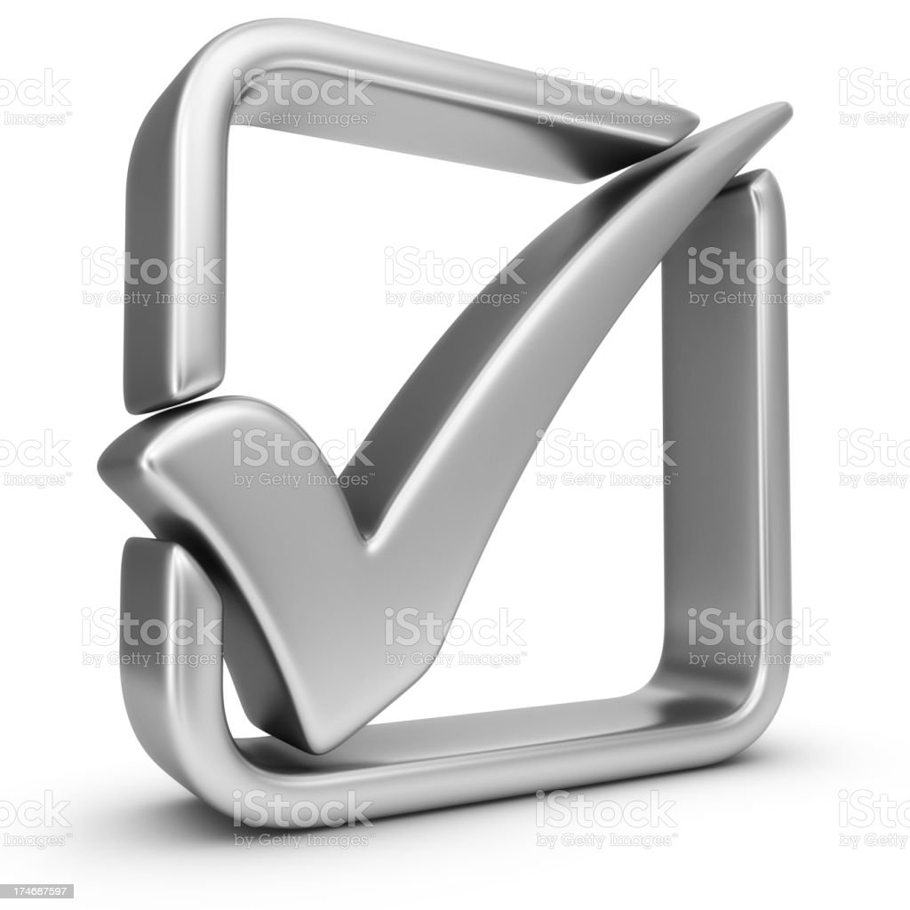 silver check mark royalty-free stock photo