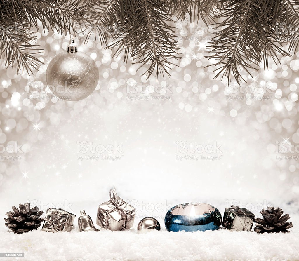 Silver Christmas Background and white snow. stock photo