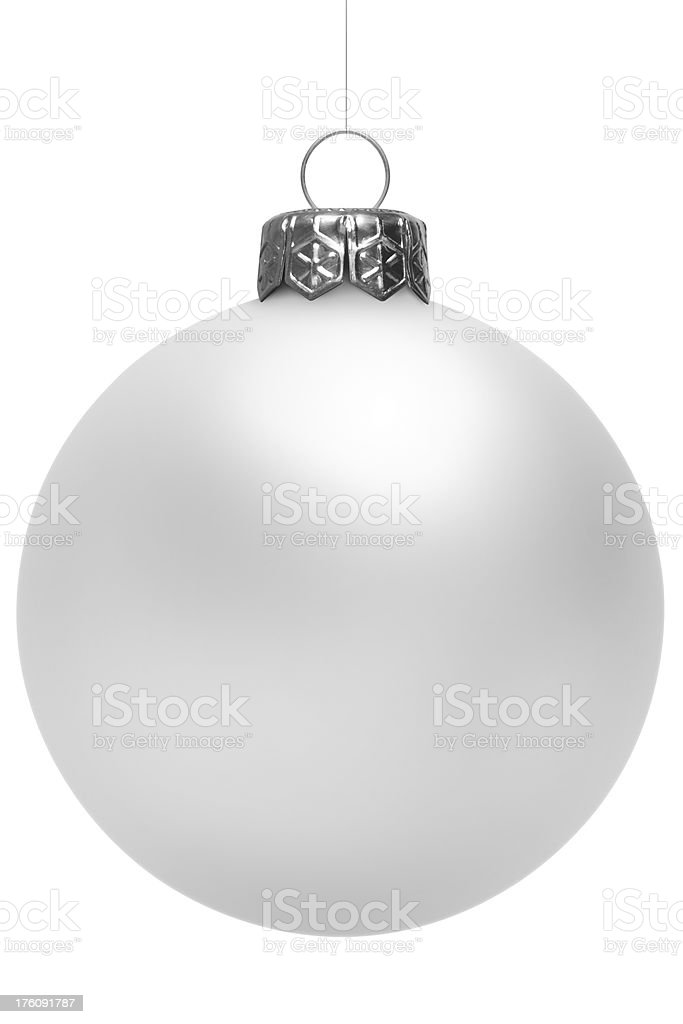 Silver Christmas Ball Isolated On White stock photo