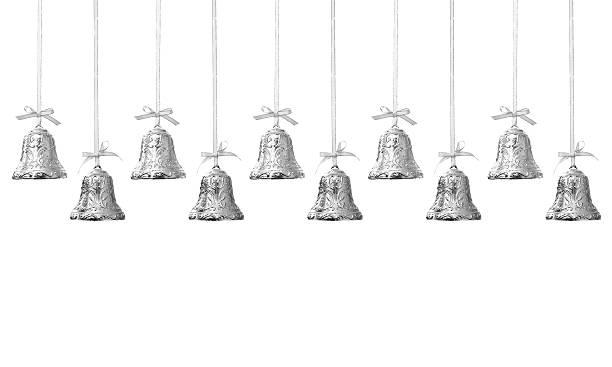 Silver Christmas Bells stock photo