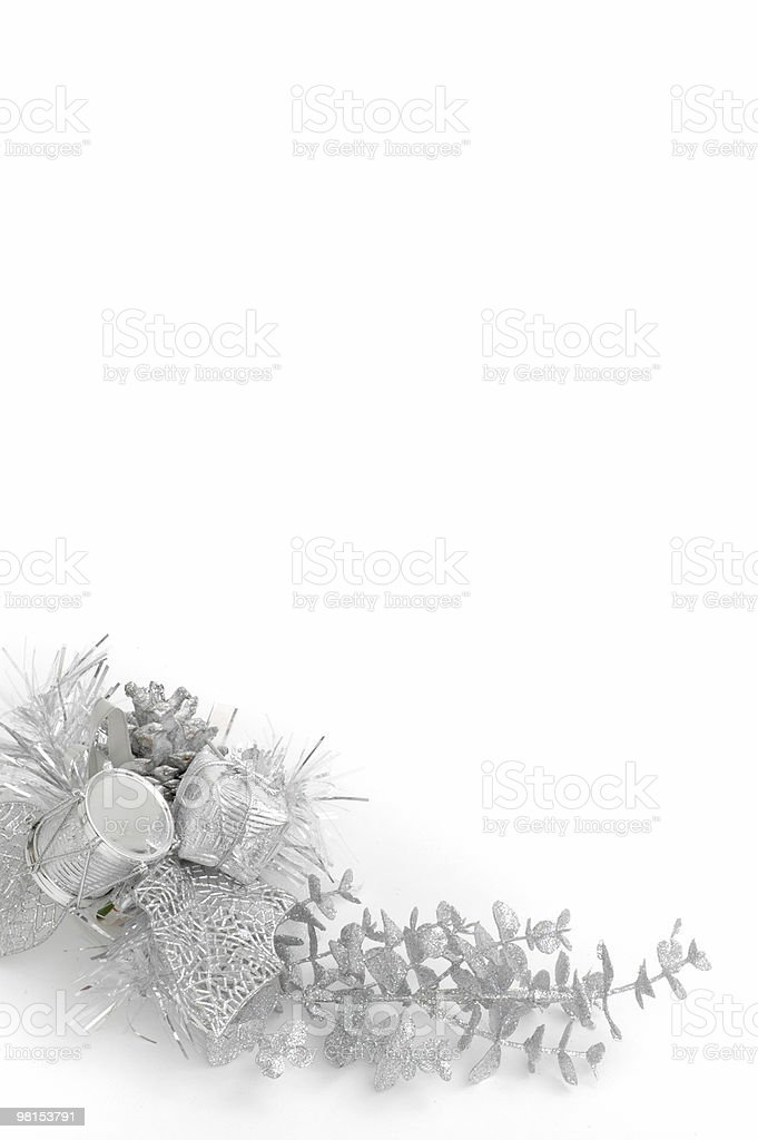 Silver Christmas Decoration framed space royalty-free stock photo
