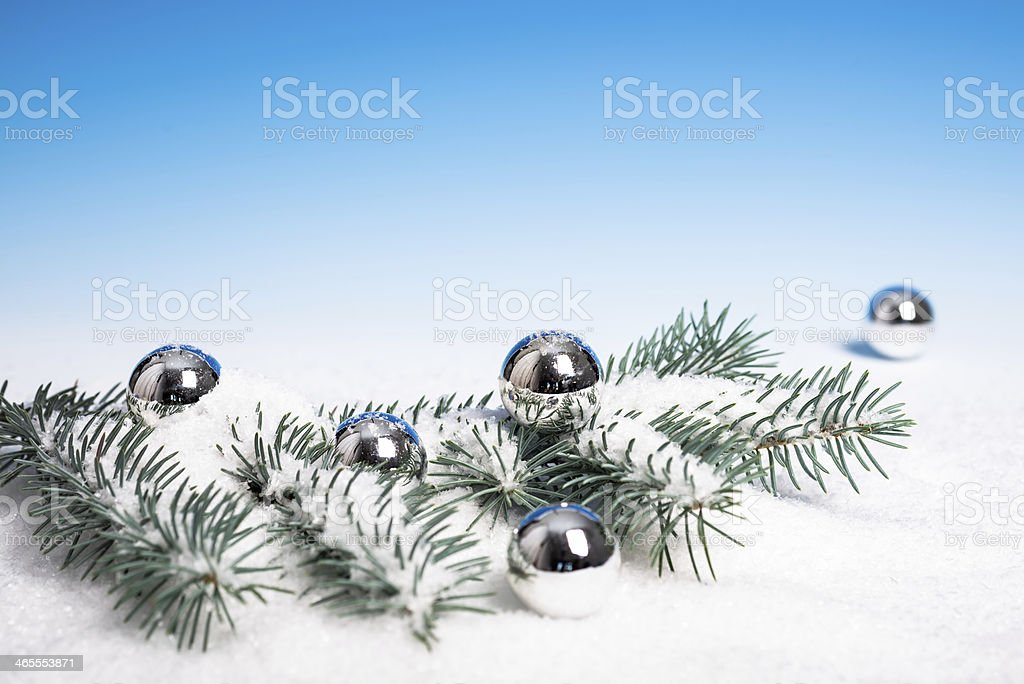 Silver Christmas decorations, space royalty-free stock photo