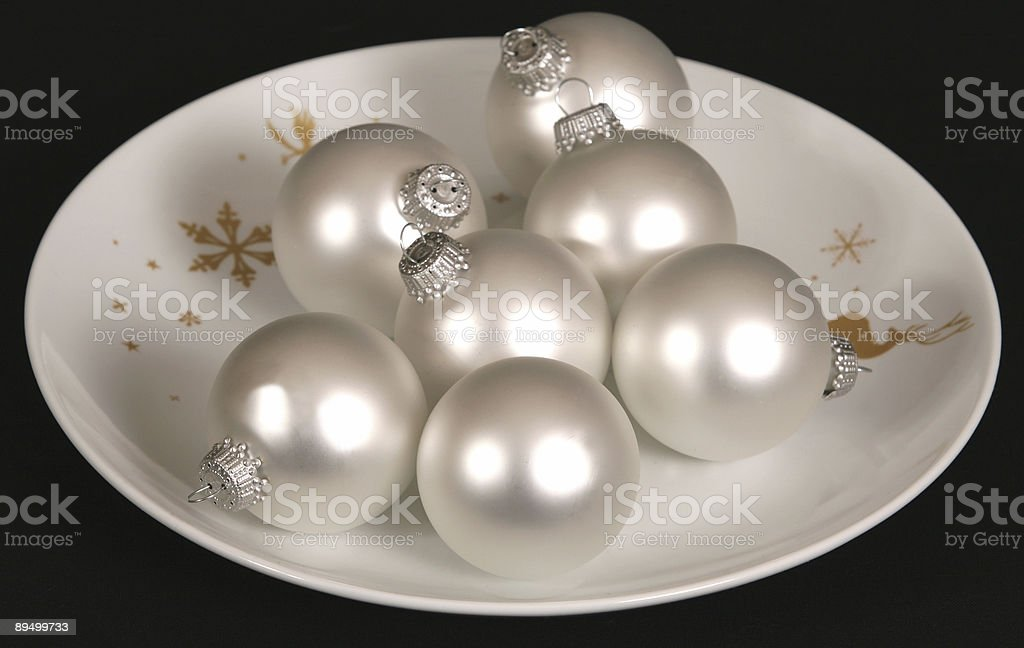 Silver Christmas Ornaments royalty free stockfoto