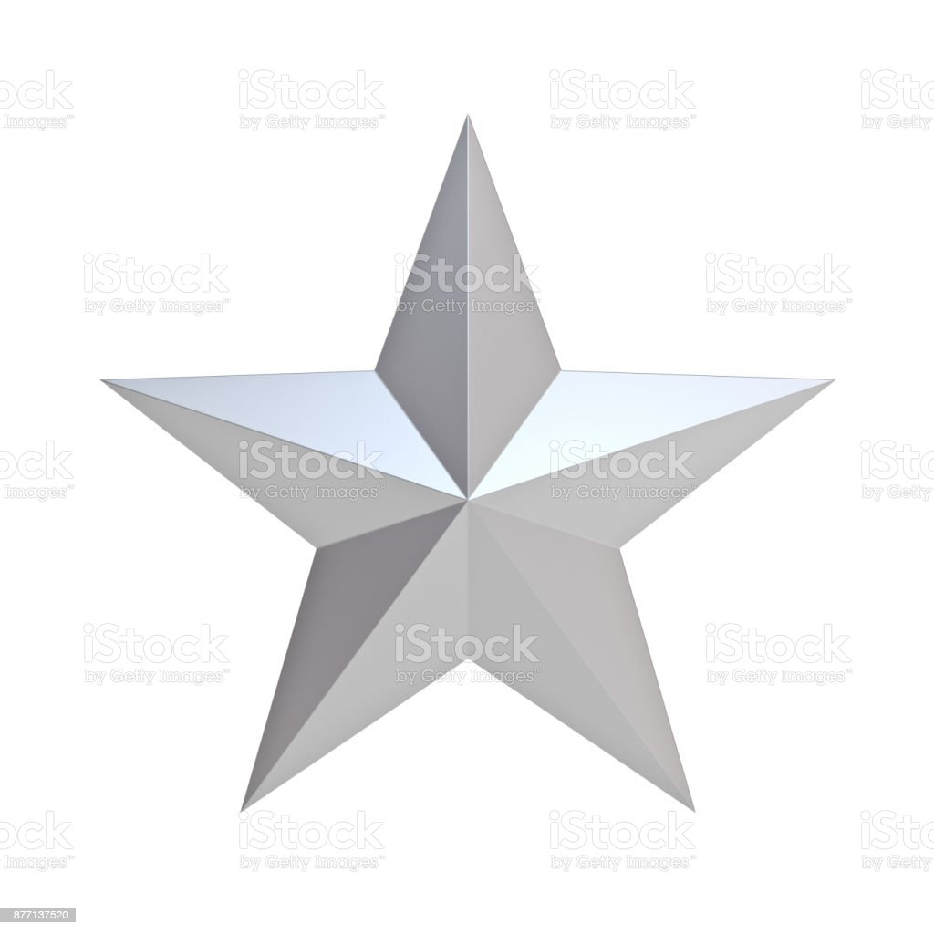Silver christmas star for christmas decoration and other events isolated on white background . 3D rendering stock photo