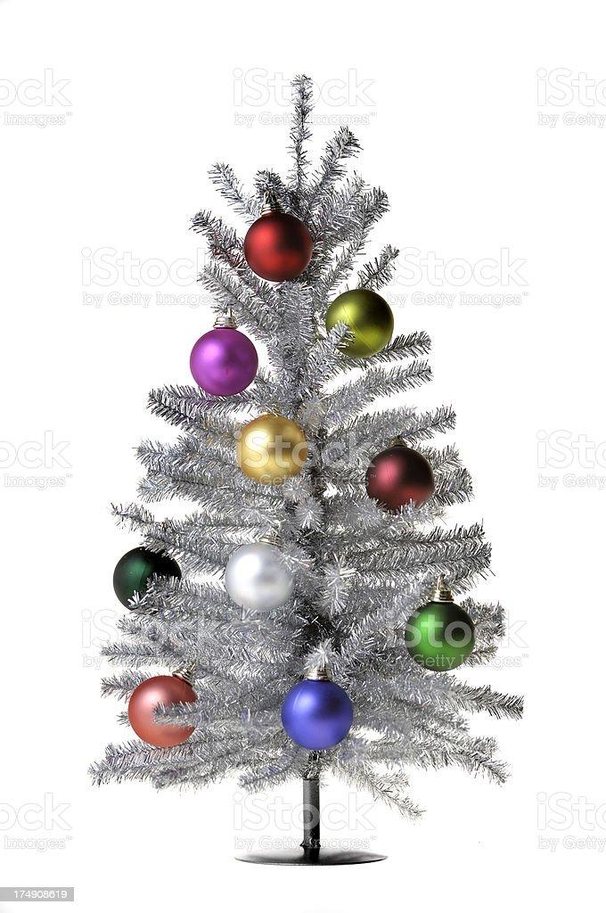 silver christmas tree 129 royalty-free stock photo