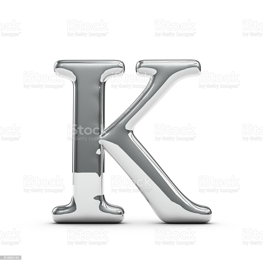 Silver chrome Capital letter K stock photo