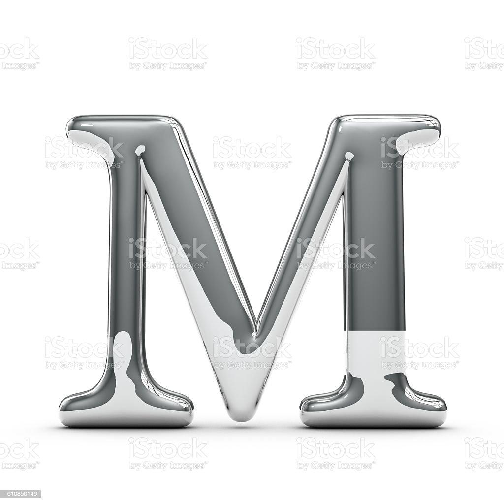 Silver Chrome Capital Letter M Lizenzfreies Stock Foto