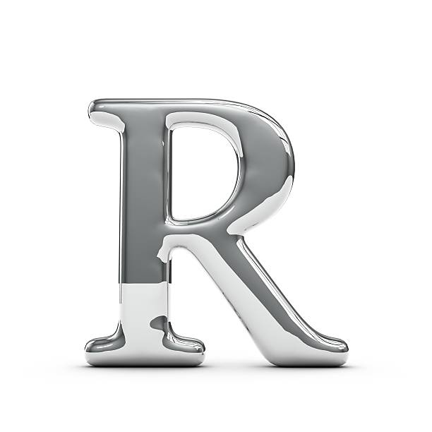 Silver chrome Capital letter R stock photo