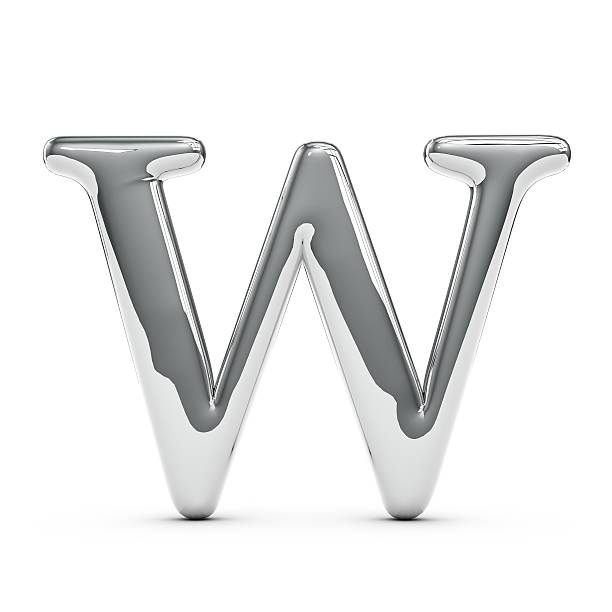 Silver chrome Capital letter W 3D render of a silver chrome metal capital letter W on a plain white background letter w stock pictures, royalty-free photos & images