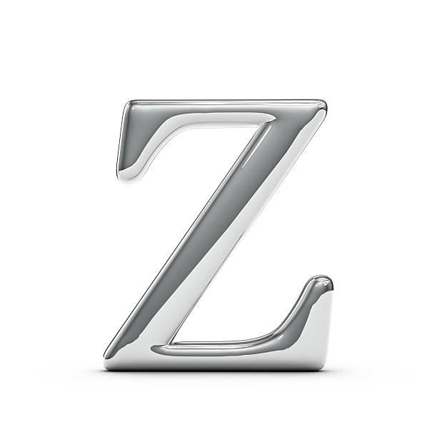 Silver chrome Capital letter Z stock photo