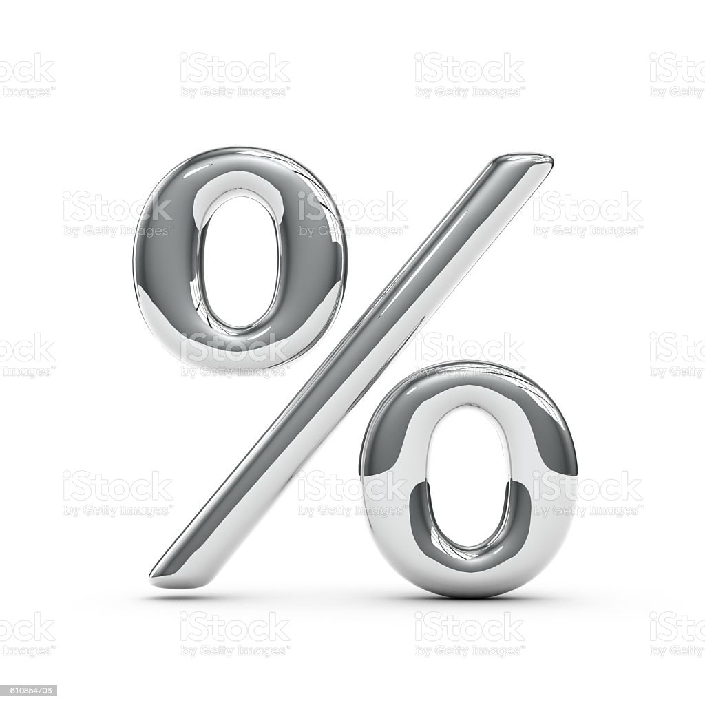 Silver chrome Capital percentage sign stock photo