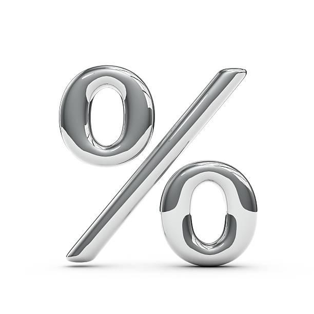 Silver chrome Capital percentage sign - foto de acervo