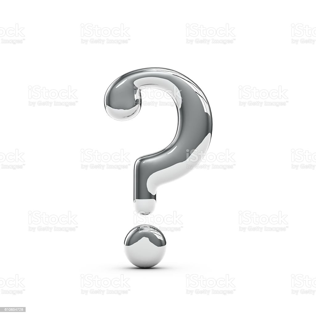 Silver chrome Capital question mark sign stock photo