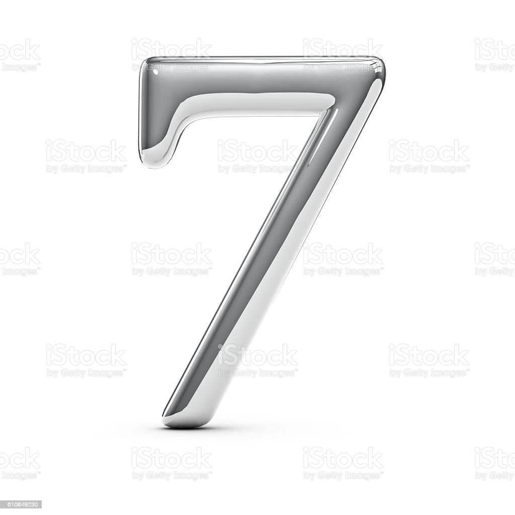 Silver chrome number 7 stock photo