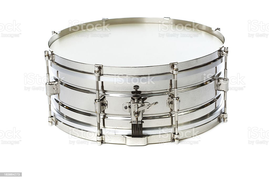 Silver Chrome Snare Drum Isolated on White Background stock photo