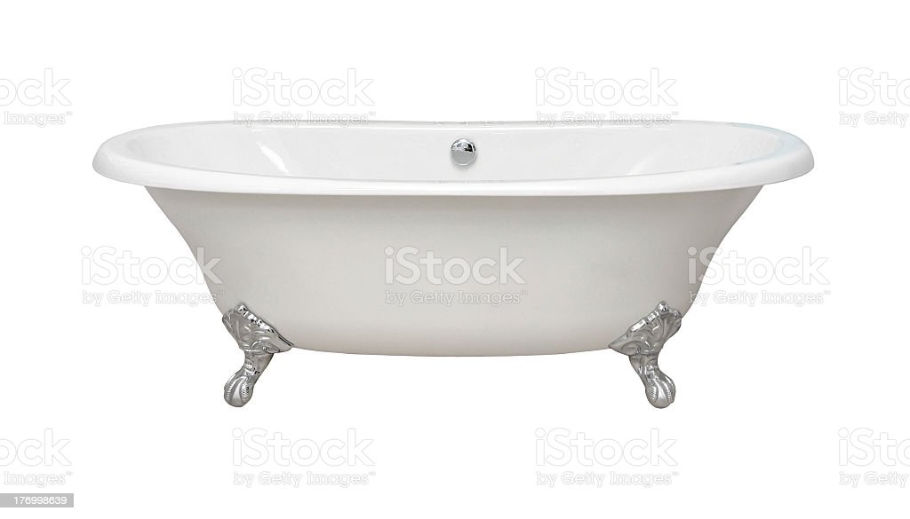 Silver claw foot white porcelain bath tub stock photo