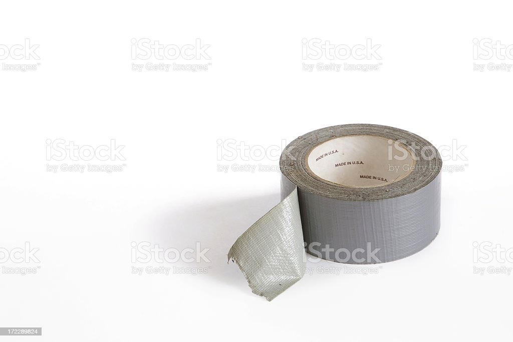 Silver Cloth Duct Tape Roll for Repairing Anything stock photo