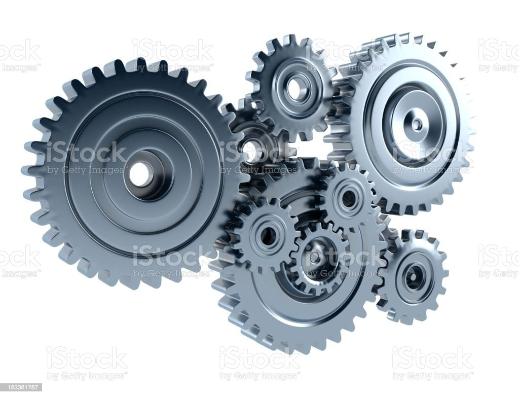 Silver cogs isolated on a white background royalty-free stock photo