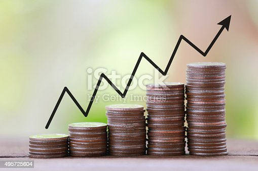istock silver coin stack and arrow line in business growth concept. 495725604