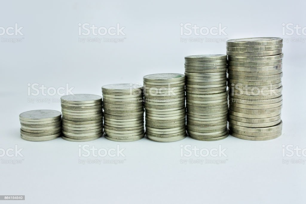 Silver coins are ideal for design, finance, stock charts and businesses. royalty-free stock photo