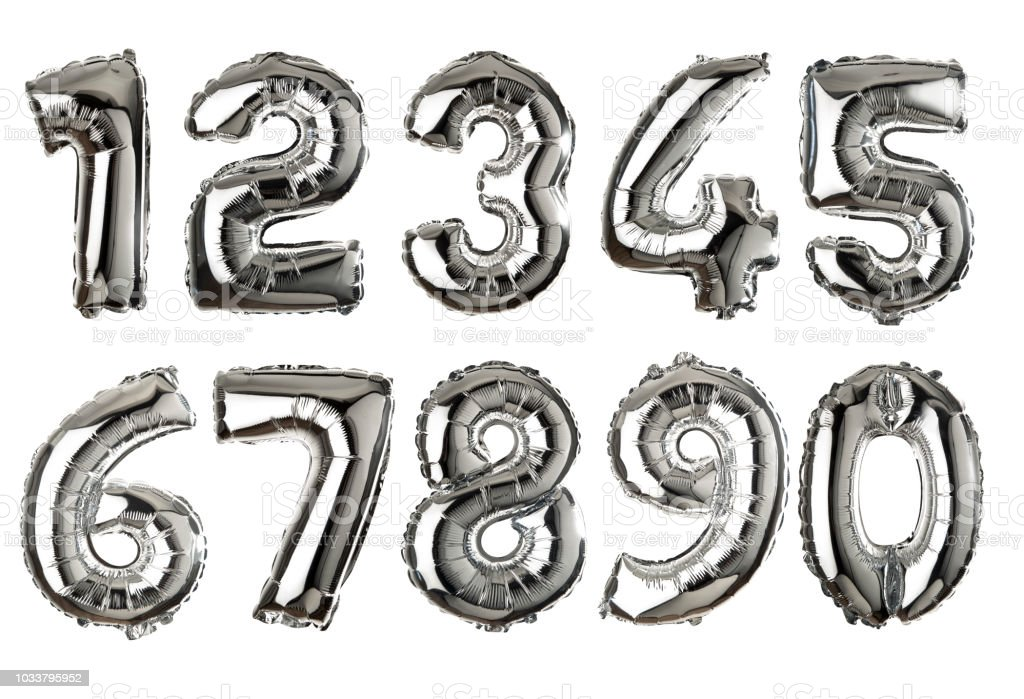 Silver colored air balloon numbers stock photo