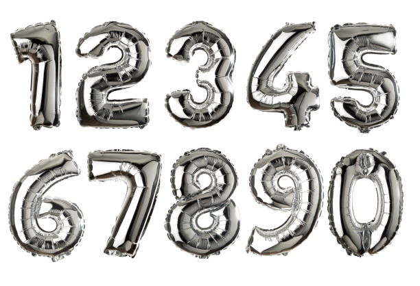 silver colored air balloon numbers - число стоковые фото и изображения