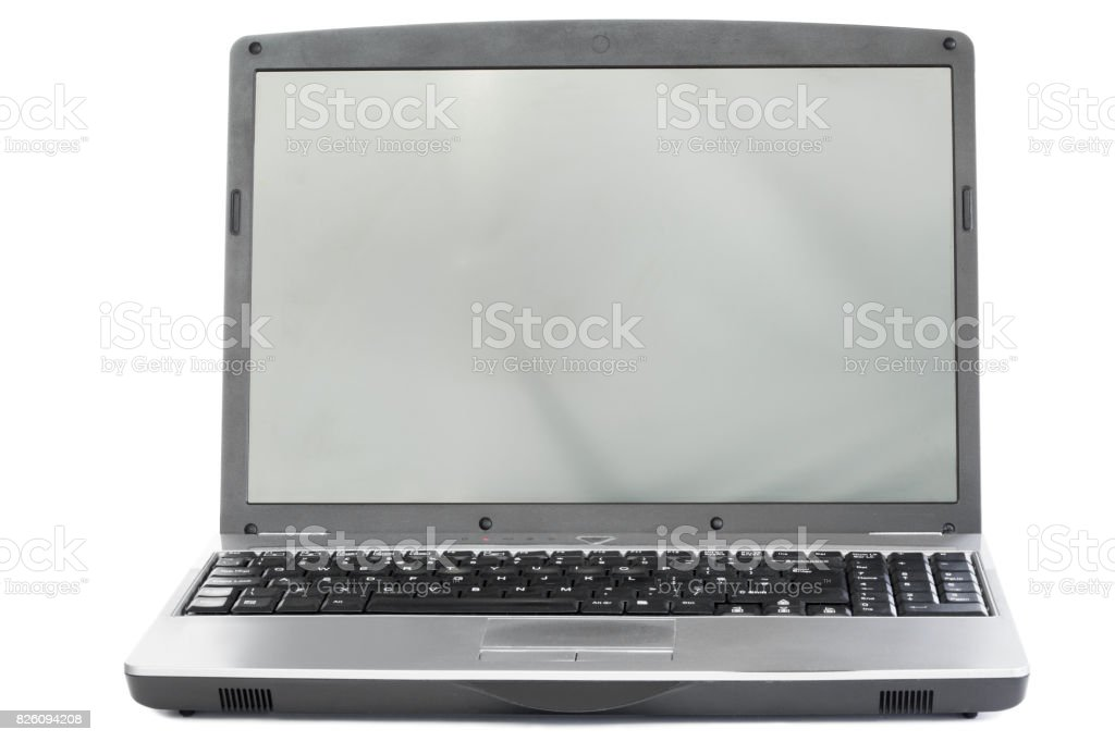 Silver colored laptop stock photo