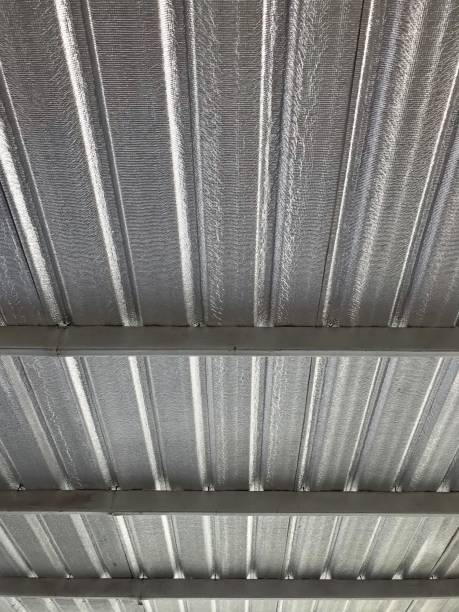 Silver colored metal sheet roof stock photo