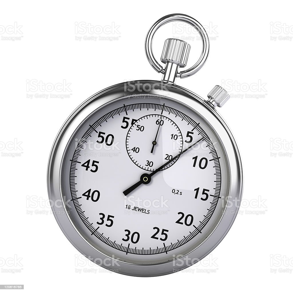 A silver colored stopwatch against a white background stock photo