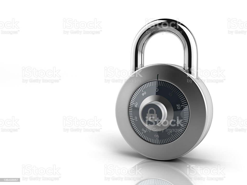 Silver combination lock on all white background royalty-free stock photo