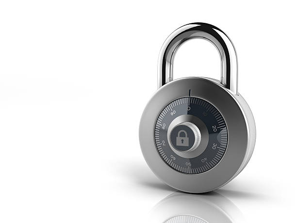 Silver combination lock on all white background stock photo