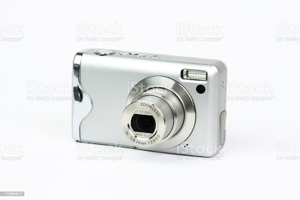 Silver compact, digital zoom camera isolated on white stock photo