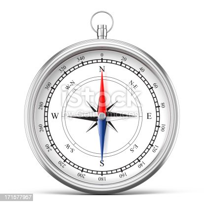 istock Silver compass isolated on white 171577957