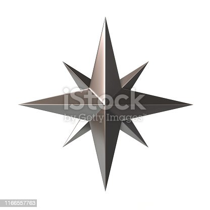 1149464558 istock photo Silver compass rose 3d illustration 1166557763