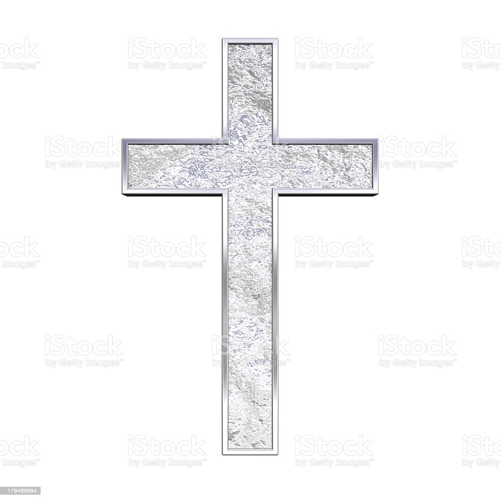 Silver cross isolated on white stock photo