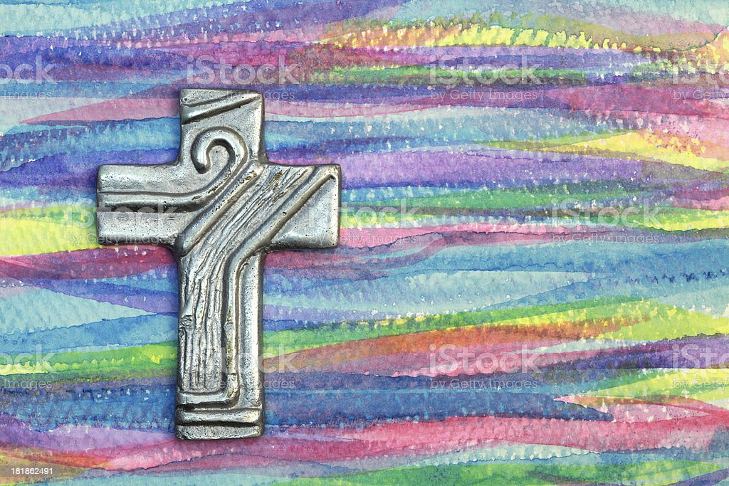 Silver Cross on Painted Background royalty-free stock photo