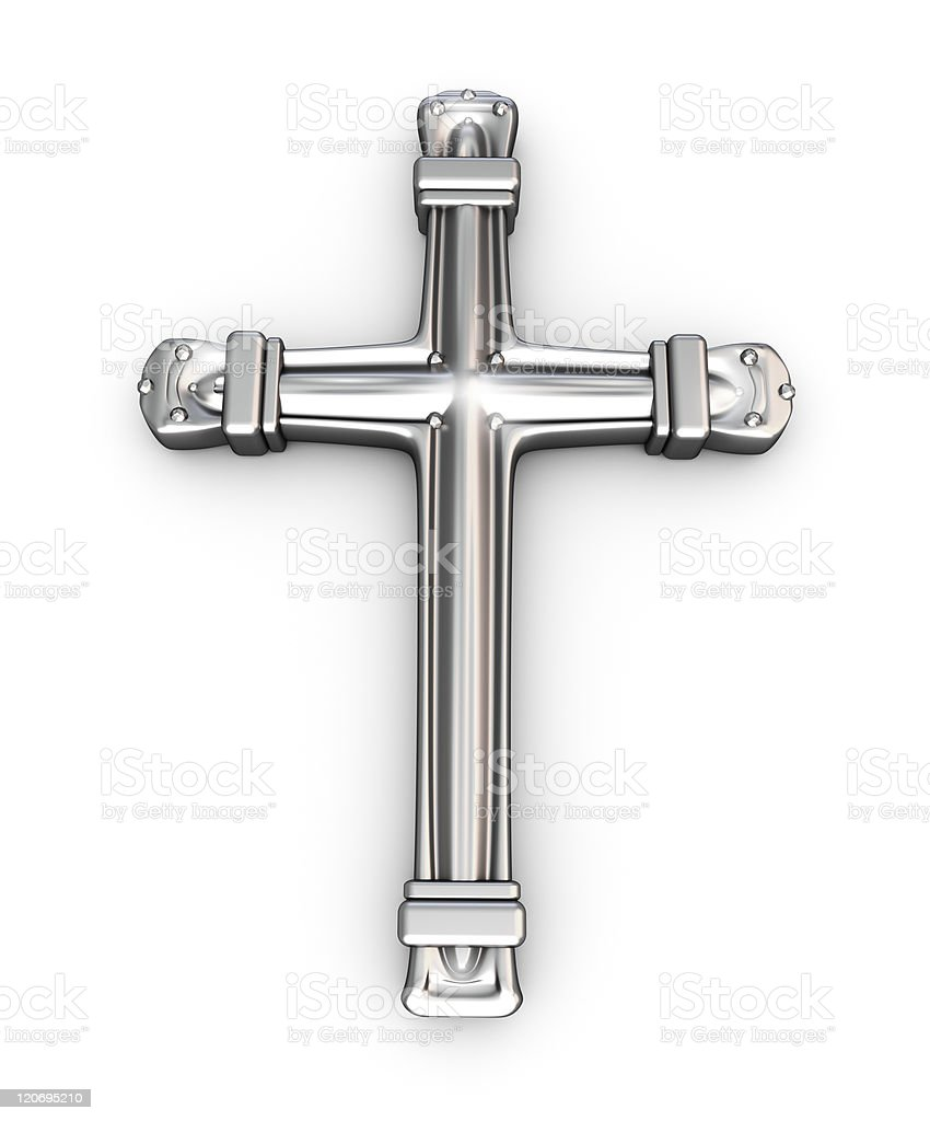 Silver cross over white royalty-free stock photo