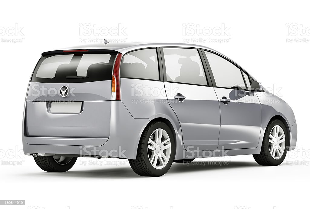 A silver crossover vehicle against white background stock photo