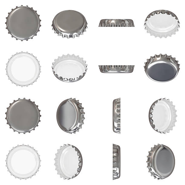 Silver crown cap Isolated silver metallic crown cap viewed from in different angles bottle cap stock pictures, royalty-free photos & images