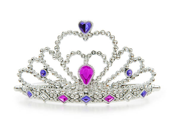 a silver crown with jewels on a white background - diadem stock pictures, royalty-free photos & images