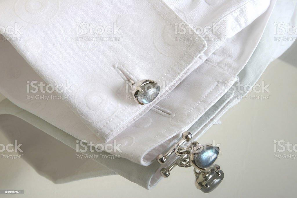 silver cufflinks on shirt royalty-free stock photo