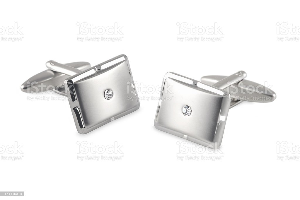 silver cufflinks with crystal inset stock photo