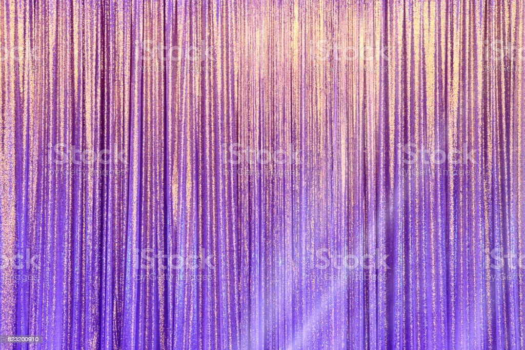 Silver Curtain Screen drape wave and lighting beam stock photo